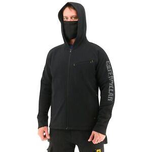 Caterpillar Men's ViralOff® Hooded Sweatshirt Hoodie w Face Covering - Pitch Bl