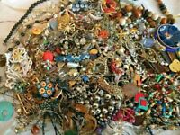 Unsearched Jewelry Vintage Modern Big Lot Junk Craft Box FULL POUNDS Pieces Part