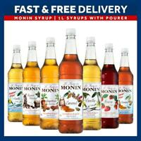 Monin Syrup Plastic 1L Bottle Range  AS USED BY COSTA Add Pourer