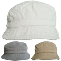 Mens or Womens 100% Cotton Bucket Hats Faded Look Fully Lined Bush Hat Sun Cap