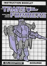 Transformers Original G1 1986 Scourge Instruction Booklet Manual