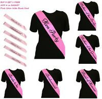 Pink Hen Party Sashes Girls Night Out Sash Wedding Bride To Be  Bridesmaid Honor