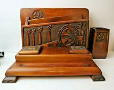 Rare Antique Hand Carved Industrial Hammer Sickle Insignia Inkwell Desk Stand