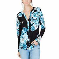 INC NEW Women's Black/blue Floral Zip-detail V-neck Blouse Shirt Top S TEDO