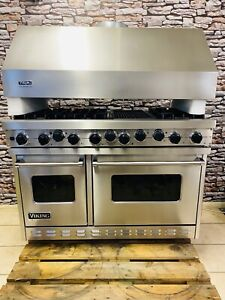 VIKING PROFESSIONAL 48 INCH DUAL FUEL STAINLESS STEEL RANGE COOKER WITH HOOD
