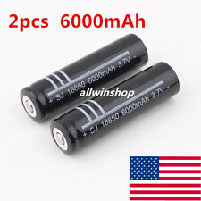 2pcs 3.7V 6000mAh 18650 Li-ion Efficient Rechargeable Battery for Flashlight New