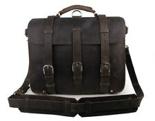 J.M.D Men's Crazy Horse Leather Briefcase Backpack Laptop Bag Large Capacity