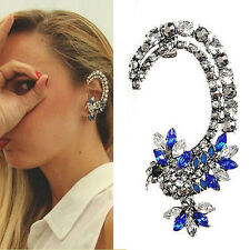Vintage 1pc Women Silver Hummingbird Crystal Iced out Ear Cuff Clip Earring Gift