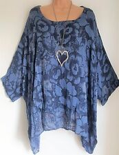 New Italian Lagenlook Denim Blue floral Loose Kaftan Tunic Top uk 18 20 22 24 26