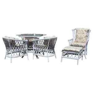 Contemporary Modern White Wicker Rattan Patio Dining Set Table Chairs Ottoman