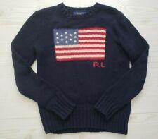 Polo Ralph Lauren Chunky Sweater American Flag Blue Crew Neck Boy's Size 8