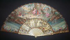 AMAZING ANTIQUE FRENCH 18TH HAND PAINTED LANDSCAPE PLAYS DOLL GRAPES ROSES.. FAN