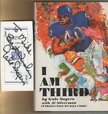 Gale Sayers Autographed show Ticket Chicago Bears & 1972 I Am Third book
