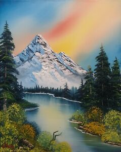 Original Signed Oil Painting Art Decor 16x20 Canvas Using Bob Ross  Technique