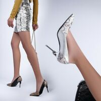 Womens Fashion Snakeskin Two Tone Pointed Toe High Heel Court Shoes Pumps OGEG