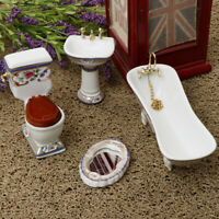 1/12 Dollhouse Miniature Bathroom Furniture Kit Floral Bathtub Toilet Set #3