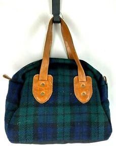 Vintage Pendleton Green Wool Tartan Plaid Patina Leather Hobo Bag Handbag Purse
