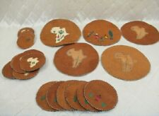 Embroidered Coasters Placemats Set Palm Coconut African Theme 26 total