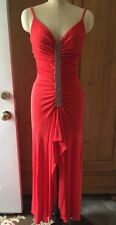 Nicole Bakti Red/Orange Rhinestone Jersey Gown Sexy-n-Comfy Size XS Or 2/4