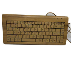 Handcrafted Bamboo USB Computer Keyboard Fully Tested