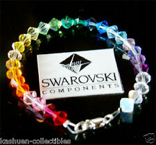 w Swarovski Crystal RAINBOW haunted CHAKRA SOLID Sterling Silver Womens Bracelet