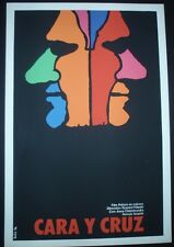 FACE AND CROSS Cuban Silk-screen Poster for Polish Movie by Cuba Artist BACHS