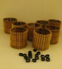 "8 Vtg.Bamboo 2.25"" Mini Chandelier Clip on Shades w/ washers for String Lights"