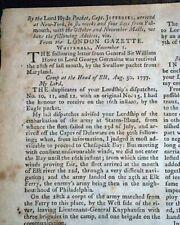 Rare Tory Pro British Revolutionary War w/ Battle of Bennington 1778 Newspaper