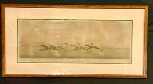 Antique Print Hand Colored Horse Racing Winning