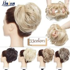 Women Straight Chignon Hairpieces Synthetic Ombre Elastic Updo Messy Scrunchies