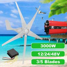 3000W DC12/24V 3/5Blades Wind Turbines Generator Horizontal Charge Controller