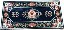 "24""x60"" Black Marble Dining Center Table Top Rare Mosaic Pietradura Inlay H1522"