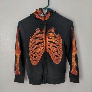 Tony Hawk Flaming Fire Skeleton Zip Up Hoodie Youth Skateboarding
