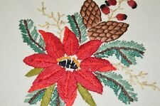 CHRISTMAS POINSETTIAS & PINECONES! VTG GERMAN ROUND LARGE HAND TABLECLOTH + 2