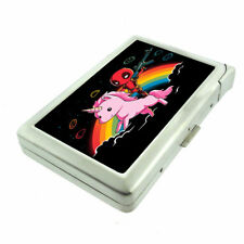 Rainbow Unicorn Em4 Cigarette Case with Built in Lighter Metal Wallet
