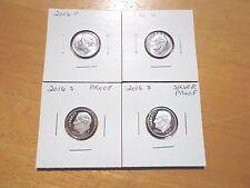 2016 P D S S Roosevelt Dime Silver & Clad Proof 4 Coin Set Lot