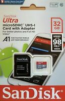 Sandisk 32GB Ultra Micro SD SDHC TF Memory Card 80MBs UHSI Class 10 W/ADAPTER