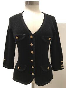 Betsey Johnson New York Women's Black Cardigan Sweater Size Medium