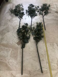 Pottery Barn Faux Oak Branch - RARE Beautiful Green Leaves - Qty 5 Stems L@@K!