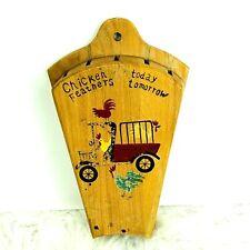 Vintage Nevco Knife Block Wall Holder Chicken Farmhouse Design Farm Truck Hang