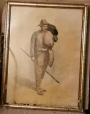 Powerful Watercolor-1870's-Man Returning Home-Monogrammed-High Quality