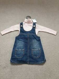 Next Outfit Polo Neck And Denim Dress Pinafore Pink 6-9 Months BNWT