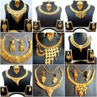 Indian 22K Gold Plated Wedding Necklace Earrings Party Set Variations 8'' ,