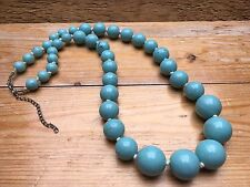 Vintage Baby Blue Bobble Bead Necklace/Retro Style/Hand Knotted/Marbled Plastic