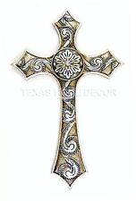 Silver Decorative Fleur De Lis Wall Cross Rustic White Rhinestones Shell Design