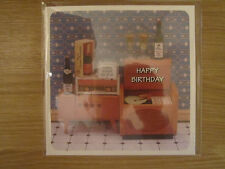 Sealed Happy Birthday Greeting Card Retro Cabinet Drinks Music Party Toast (908)