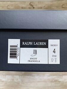 Ralph Lauren Girls Mid Calf Brown Suede Fringe Boots Size 4