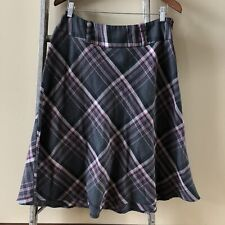 SIZE 10 - NYCC Womans Gray Plaid A-Line Skirt