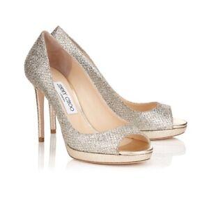 JIMMY CHOO  Luna Champagne Silver Metallic Glitter Peep Toe Pump Size 38