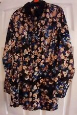 New Size 6 floral ditsy print chiffon look playsuit black blue